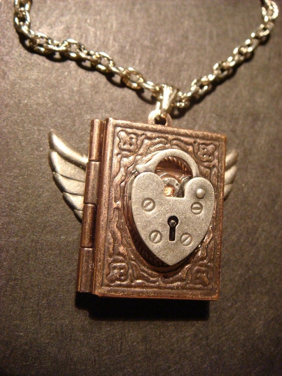 Steampunk Flying Book Locket with Heart Lock in Antique Copper (506)