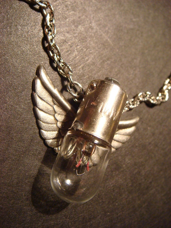 Flying Light  Bulb with Wings Steampunk Necklace (479)