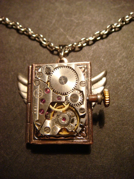 Steampunk Neo Victorian Watch Movement LOCKET Necklace with Wings (497)