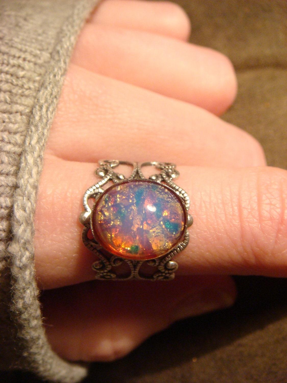 fire opal antique silver filigree ring by clockworkalley. Black Bedroom Furniture Sets. Home Design Ideas
