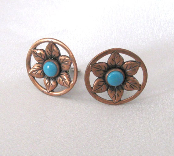 Vintage Copper Flower Earrings, Faux Turquoise Southwestern