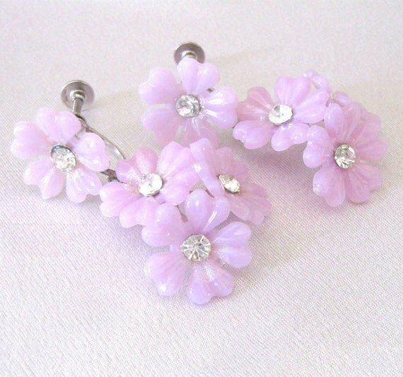 Vintage Flower Earrings Rhinestone Plastic Dangle, Rare 1950s