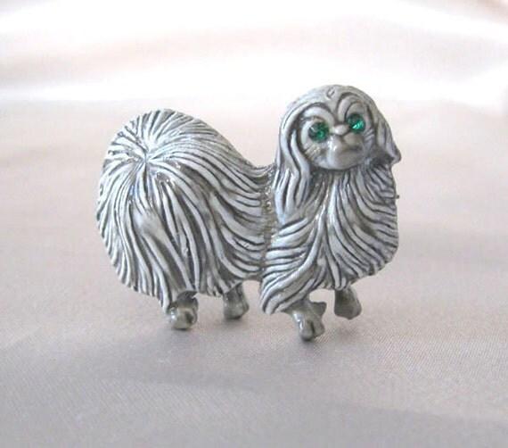 Vintage Pin Pekingese Dog Brooch Signed Gerrys