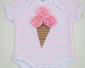 Ice Cream Cone Bodysuit.  Baby Girls Size 3 mo. to 6 mo.