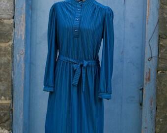 "rainbow pinstripes on true blue """" semi sheer midi dress """" ON SALE"