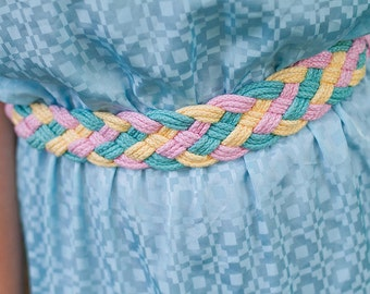 "pretty pastel """" vintage braided rope belt"