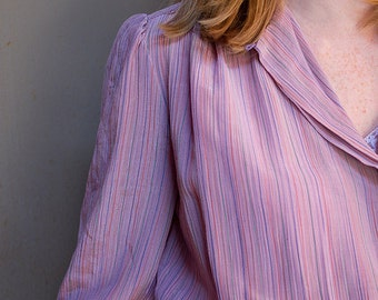"amaranth pink """" pin striped secretary dress"