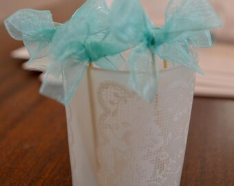 Food Picks Hors D'ouevres turquoise/tiffany blue bows, ribbon Set of 12 Food Decoration, tooth picks wedding bridal shower party