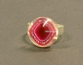 HALF PRICE SALE: Small Pink Diamond Glitter Vintage Button Ring