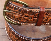 Vintage 60's tooled belt with acorn design by Tony Lama