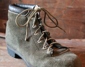 Reduced, Vintage 70's Italian olive green suede Mountaineering Boots by Vasque St. Moritz in size 8