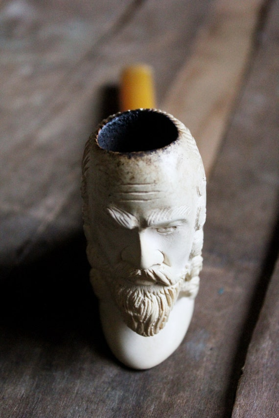 Antique 60's Bearded Man Meerschaum Pipe with butterscotch stem