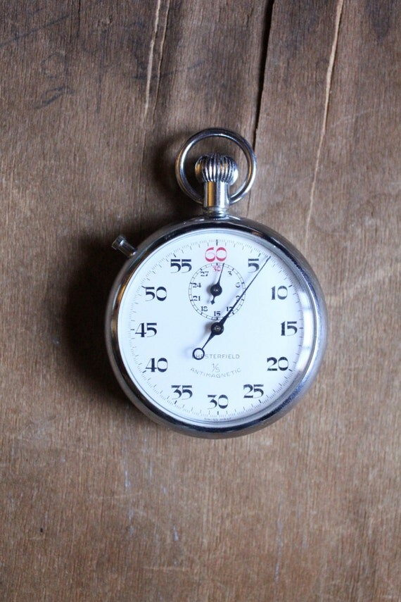 Antique 40's Swiss made, Chesterfield 1/5 Antimagnetic Wind Up Pocket Stopwatch
