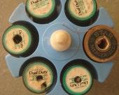 Vintage Thread Holder, Blue Plastic Thread Holder, Round Spool Holder, Vintage Sewing Supply