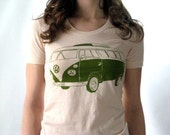Womens Screen Printed American Apparel VW Bus T-shirt