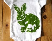 Screen Printed American Apparel Rabbit Baby Onesie (You Pick Size) - Easter Bunny Shirt - Natural Cotton