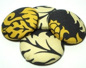 Button Fabric Covered 1.5 inch Damask Yellow Gray Marigold