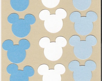 Mickey Mouse ears, die cuts, punchies in Blues and white  card making, confetti, place cards, Disney, 120 ears