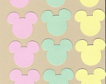 Mickey Mouse, Minnie Mouse ears die cuts punchies in Pastel colors of pink, green and yellow, scrapbooking, Disney, 160 pieces
