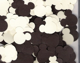 Mickey Mouse, Minnie Mouse ears,die cuts, punchies in Chocolate Brown and Cream colors, Disney, scrapbooking, 120 pieces