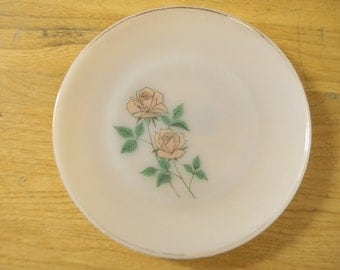 Vintage, Fire King, Plate, Anniversary Rose Collection, 1960s, Anchor Hocking, 22K gold trim, Dinner Plate, Made in USA