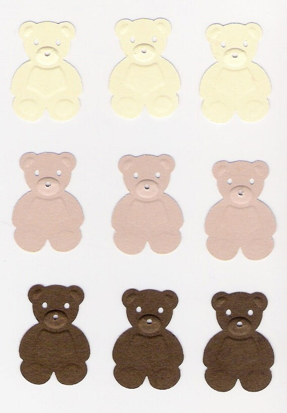 Teddy Bears, embossed die cuts, punchies in Cream, Beige & Brown, scrapbooking, cardmaking, confetti, place cards, Treasury Item