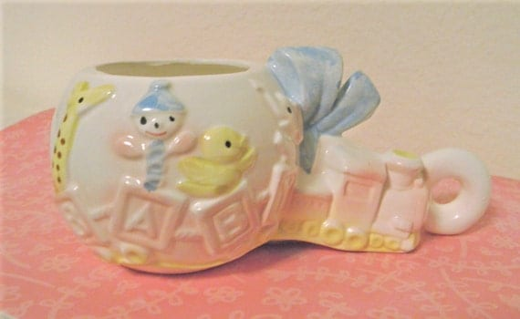 RESERVED for Lisa/coupon Shop11/Vintage Baby Ceramic Rattle Planter Vase, Baby Boy, Baby Shower, Ceramic, Mom to Be, Newborn, Nursery
