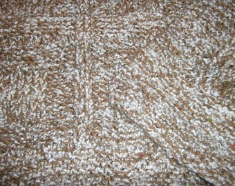 Teen to Adult Knitted Afghan Blanket - Homespun Beige/Brown