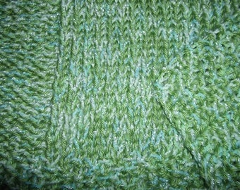 Hugs to Go Squares Baby Afghan Blanket - Green and Blue