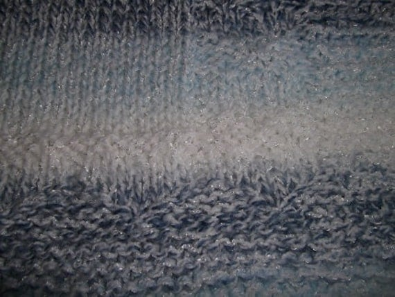 Hugs to Go Hearts Knitted Baby Afghan Blanket - Blue Stripe