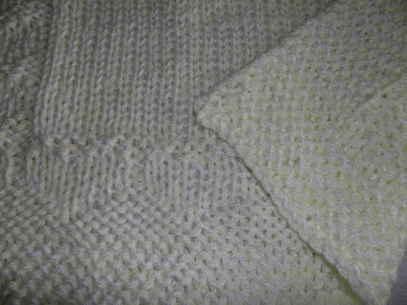 Hugs to Go Hearts Knitted Baby Afghan Blanket - Yellow and White