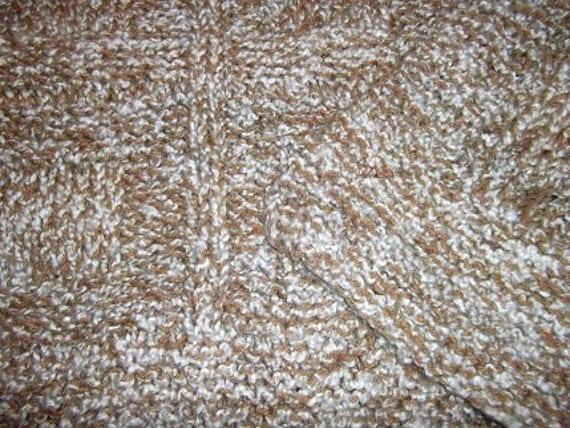 Teen to Adult Knitted Afghan Blanket - Homespun Beige/Brown