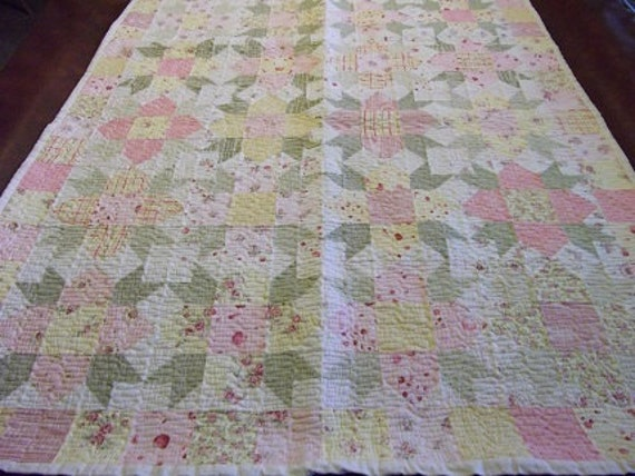 Yellow, Pink, Green Floral Patchwork Quilt