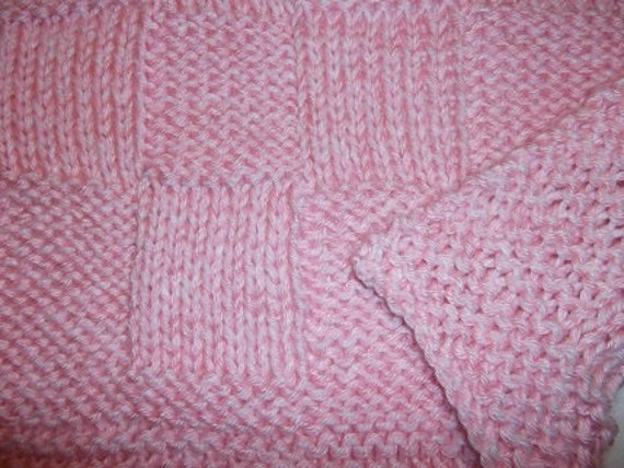 Checkerboard Knitting Pattern Blanket : Hugs to Go Checkerboard Knitted Baby Afghan Blanket Pink and