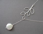 Branch Lariat Necklace - Sweet and Simple Twig and Coin Pearl Lariat Necklace in SILVER - Perfect Bridesmaid Gift Idea