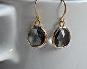 Grey Crystal Earrings with Gold Rimmed Edges, Beautiful Bridesmaid Gifts, Bridal Presents, Best Friends, Girlfriend