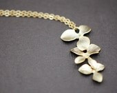 Triple Orchid Cascading Dangle Necklace in GOLD