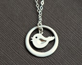 Circle Bird Necklace SIlver - Sweet Tiny Bird in Circle, Baby Bird, Expecting Mommy Gift, Baby Shower, Best Friend