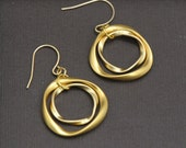 Double Circle Earrings Gold, Simple Everyday Earrings, Classic Circle Earrings Gold