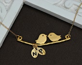 Lovebirds Necklace - 14k GOLD Fill - with Two Personalized Hand Stamped Initial Leaves -Initial Necklace- As Seen in ETSY Finds
