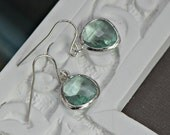 Prasiolite Green Aqua Crystal Earrings Silver Rimmed Edges,Bridesmaid Gifts, Bridal Jewelry, Mothers Earrings, Simple Every Day Wear