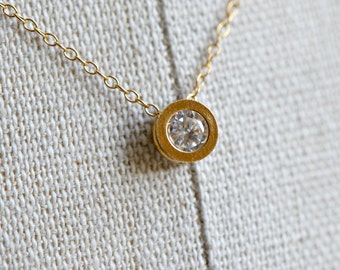 Tiny Circle Necklace Gold, Cubic Zirconia Pendant CZ - Girlfriend Gift,  Mothers Necklace, Layering necklaceBridesmaids Jewelry