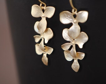 Orchids Earrings Gold, Triple Cascading Orchid Earrings, Bridal Wedding Earrings, Bridesmaid Jewelry