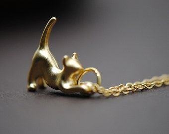 Kitty Cat Necklace Gold - Purrrfection, Cat Lover's Necklace, 14k Gold filled Necklace, Animal Necklace, Pet Charm