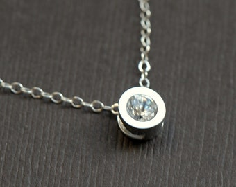 Tiny Circle Necklace - Cubic Zirconia in Sterling Silver Bezel Necklace - Simple Elegant Gift, Bridesmaids Jewelry