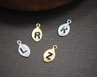 ADD a INITIAL Leaf - Custom Hand Stamped Leaf with Personailized Initial Silver or Gold