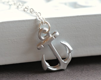 Anchor Necklace Silver, Nautical Theme, Simple Nautical Jewelry, Ocean Lover, Beach, Hope, Sterling SIlver Chain