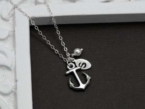 Anchor Necklace Silver Custom Personalized by ...