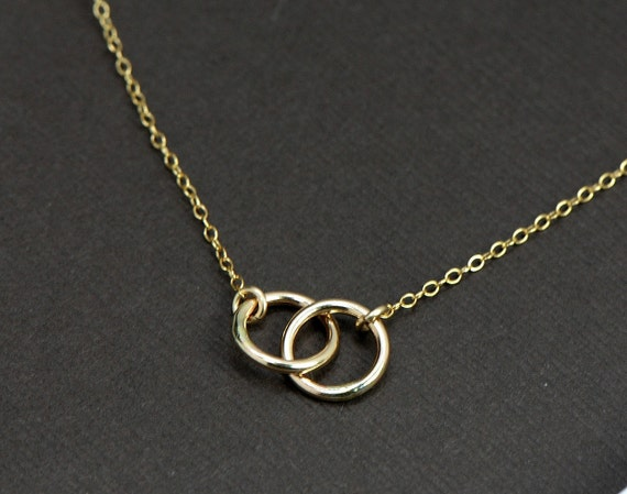 Gold Circle Necklace Double Ring 14k Gold Filled Interlocking Rings Necklace, Infinity, Wife, Couples, Family Symbolic, Bridesmaid Jewelry