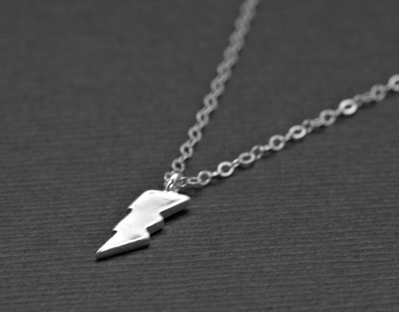 Lightning Bolt Necklace -Tiny  Sterling Silver Lighting Bolt Necklace